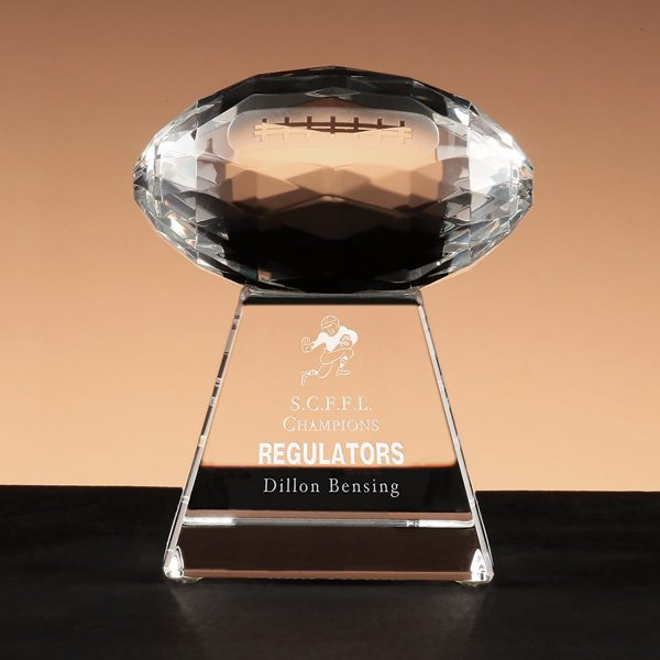 Faceted Football -Crystal Football Trophy