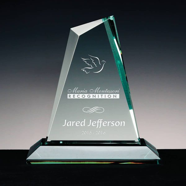 Faceted Kryptonite - Jade Glass trophy